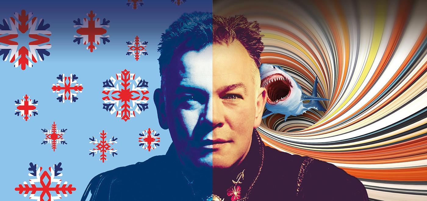 Stewart Lee headshot facing the camera with the image divided in 2. The left side with a background of union jack snowflakes, and the right an attacking shark in the eye of a colourful tornado.