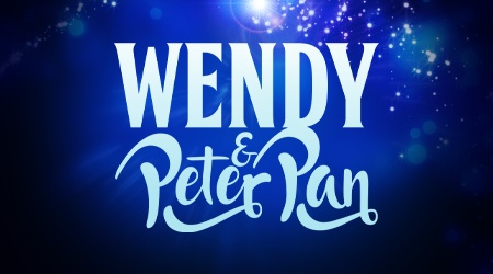 The title treatment for Wendy & Peter Pan against a star-spangled blue background